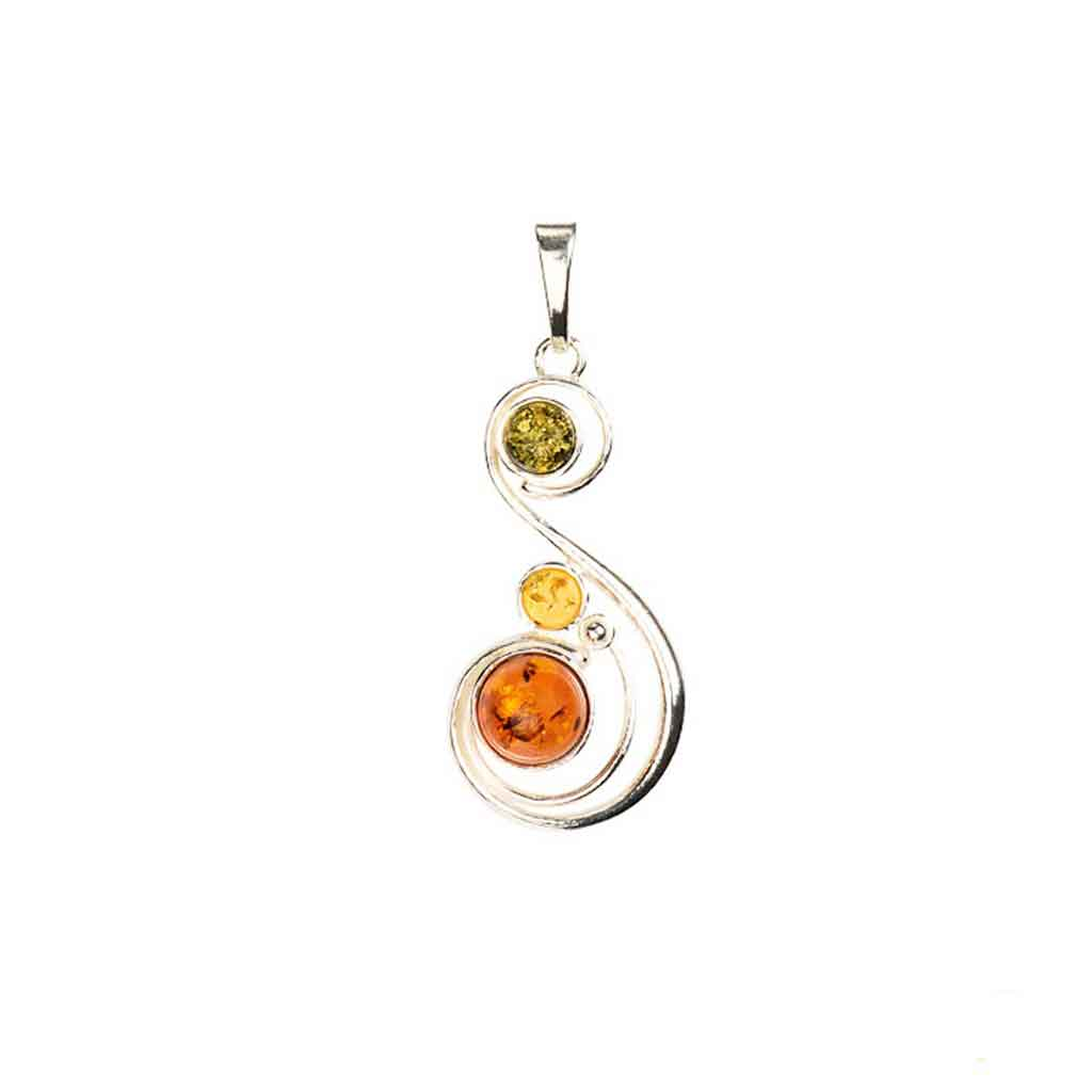 Baltic Amber Multiamber S-Shaped Swirl Pendant