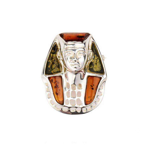 Baltic Amber King Tutankhamen Sterling Silver Pin