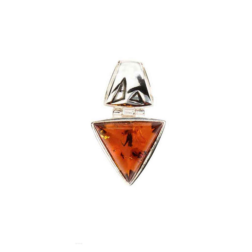 Baltic Amber Triangle Shaped Pendant in Honey Amber