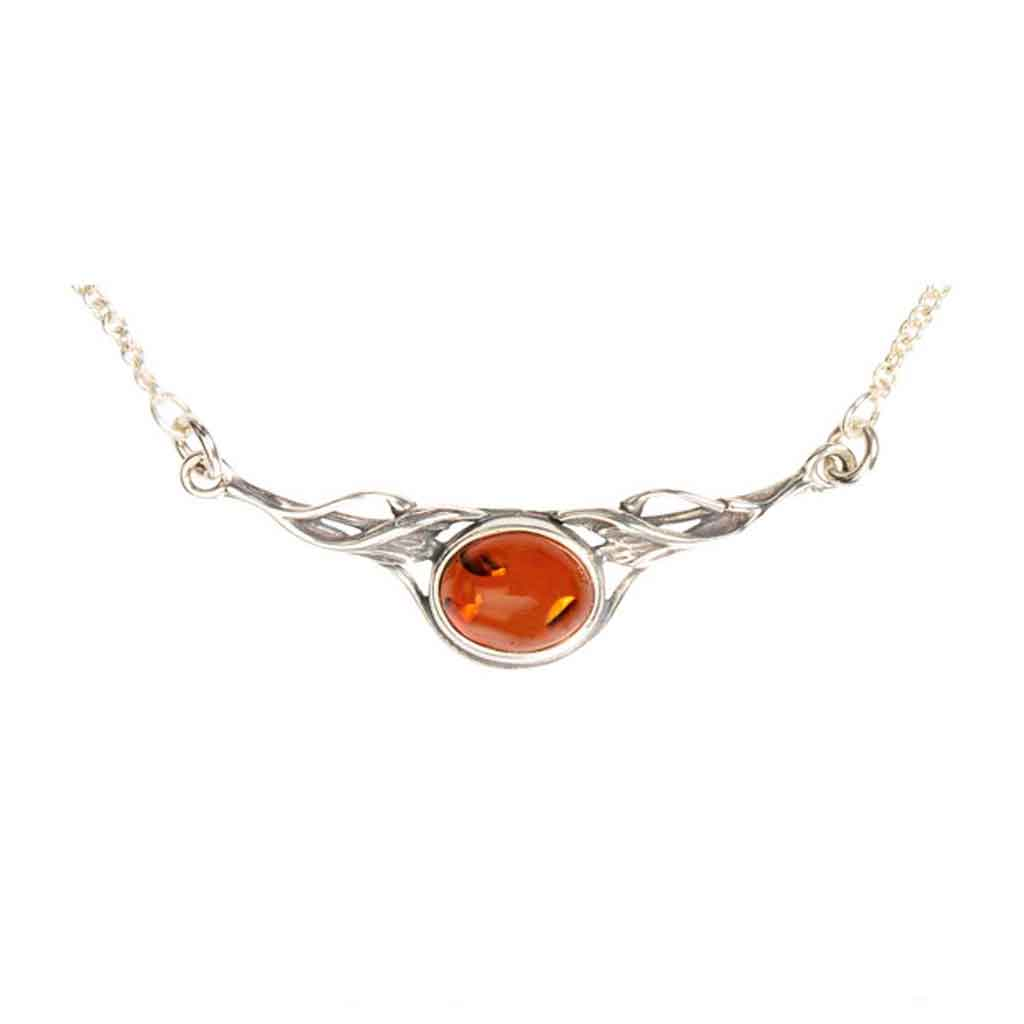Baltic Amber Oval Mount Necklace in Honey Amber