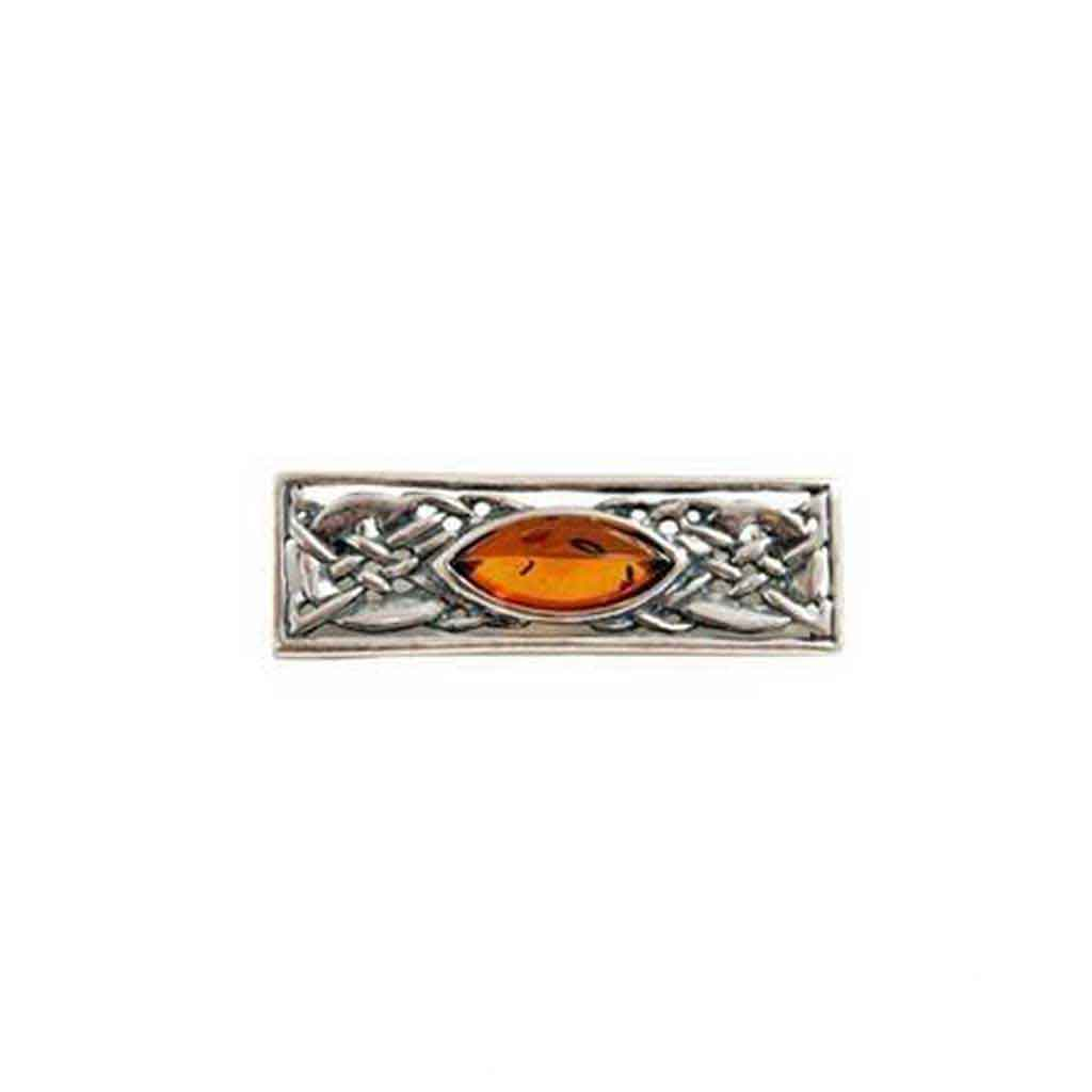 Baltic Amber Celtic Knot Sterling Silver Pin with Honey Cabochon
