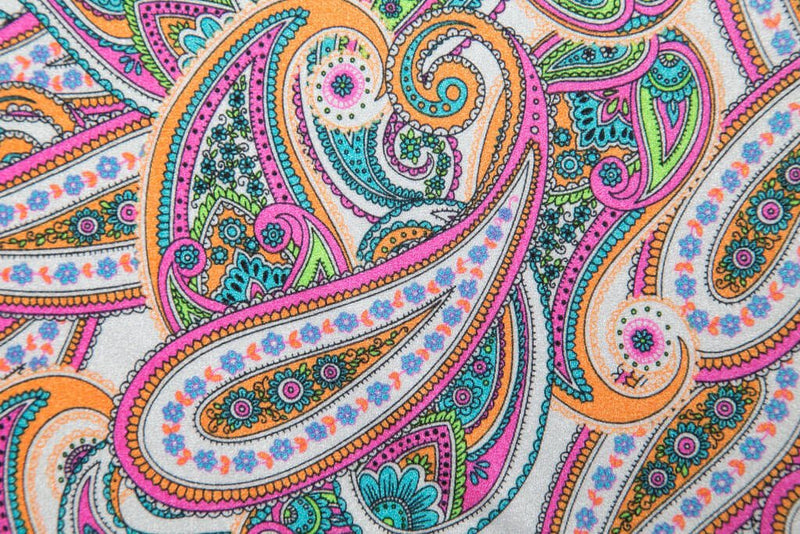 workout headbands for women pink orange and green paisley print