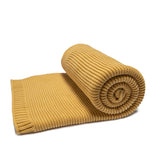 KNITTED RIB BLANKET // HONEY MUSTARD