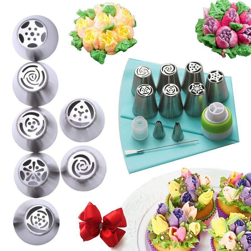 Glowsky™ Stainless steel spout set (13 pieces) for cupcakes and cake decoration action