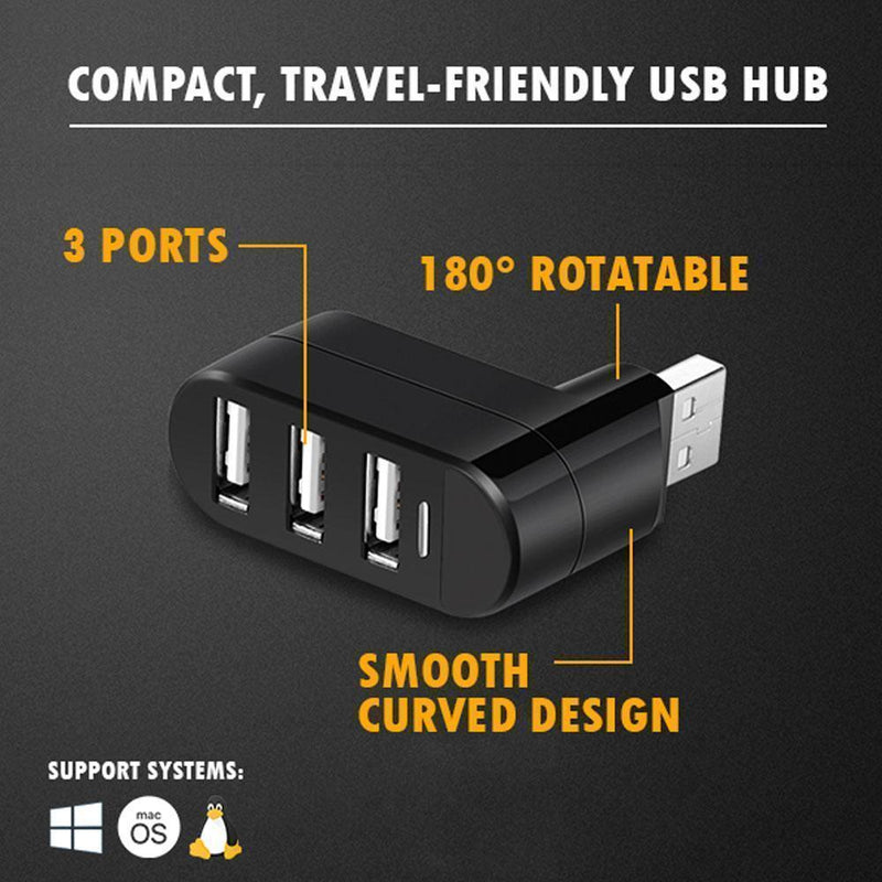 Mini Rotatable 3-Port USB Hub