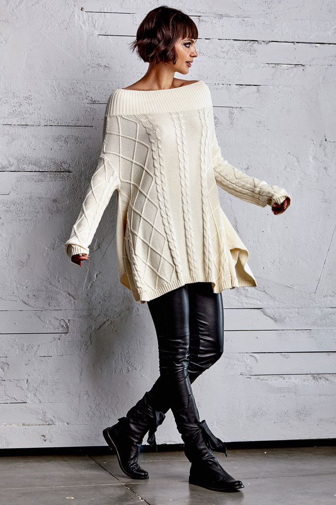 Planet Off The Shoulder Cable Sweater