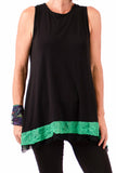 Audrey Frilly Tank - Ebony/Emerald - One Size