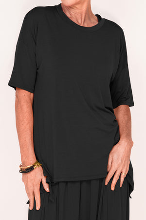Gladys 1/2 Sleeve Tee - Ebony - One Size