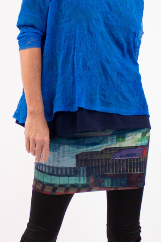 Blanche Skirt- Petrol City Skyline - One Size