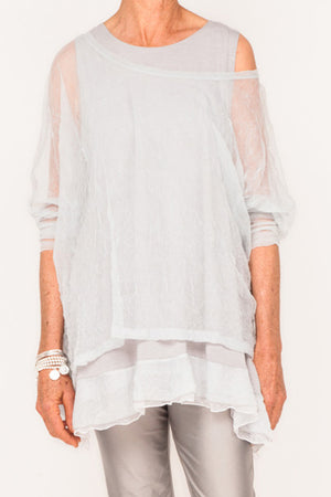 Donna Mesh Boxy Top - Cloud - One Size