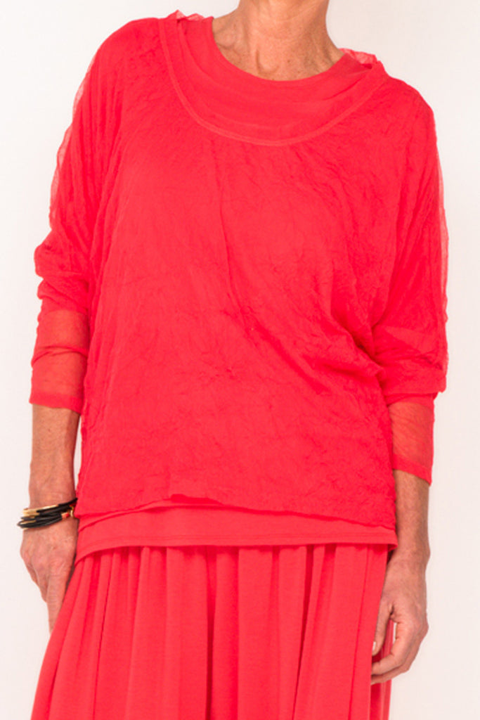 Donna Mesh Boxy Top - Hibiscus - One Size