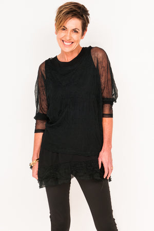 Donna Mesh Boxy Top - Ebony - One Size