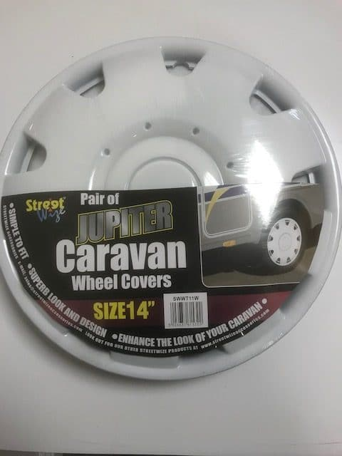 "Pair of Jupiter Caravan Wheel Covers 14""- White - SWWT11W - Caratech Caravan Parts"