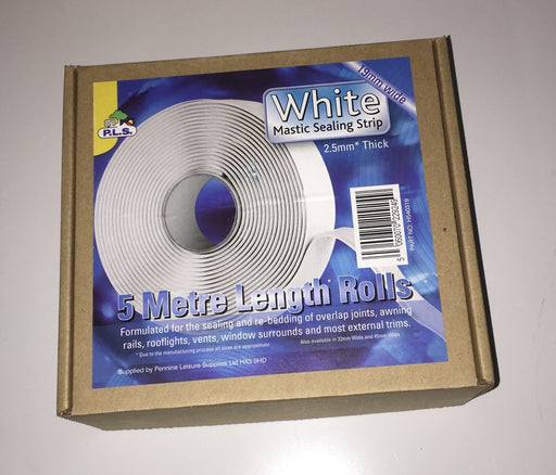 Mastic Sealing Strip- White- 2.5 mm Thick 19 mm Wide X 5 Mtr - Caratech Caravan Parts