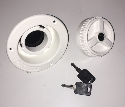 FAWO Water Inlet and Locking Filler Cap 2 Keys -White - 01622T64090W - Caratech Caravan Parts
