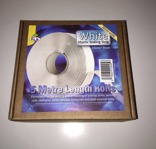 White Mastic Sealing Strip 2.5 mm Thick x 32 mm Wide X 5 Mtr - Caratech Caravan Parts