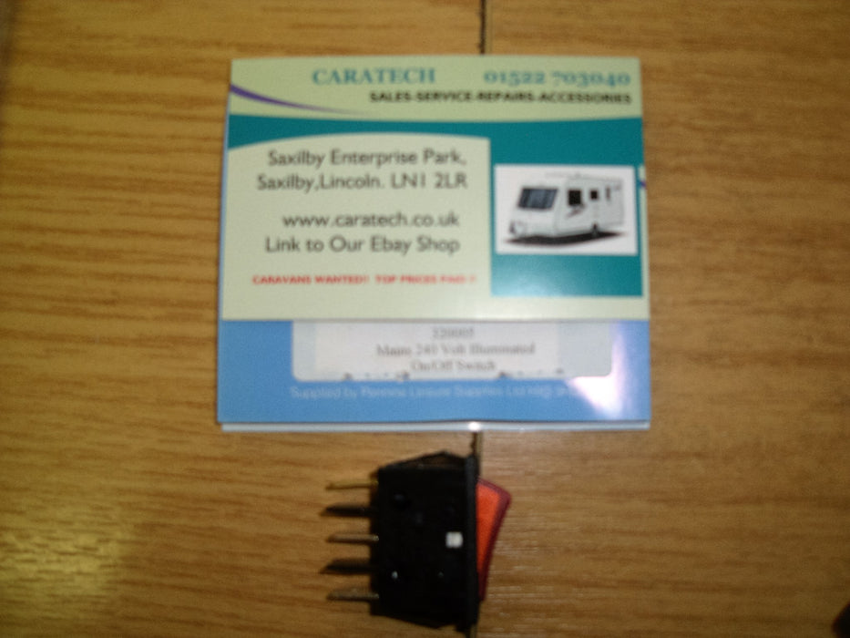 Mains on / off rocker switch - 240 volt - Illuminated  - Black - 320005 - Caratech Caravan Parts