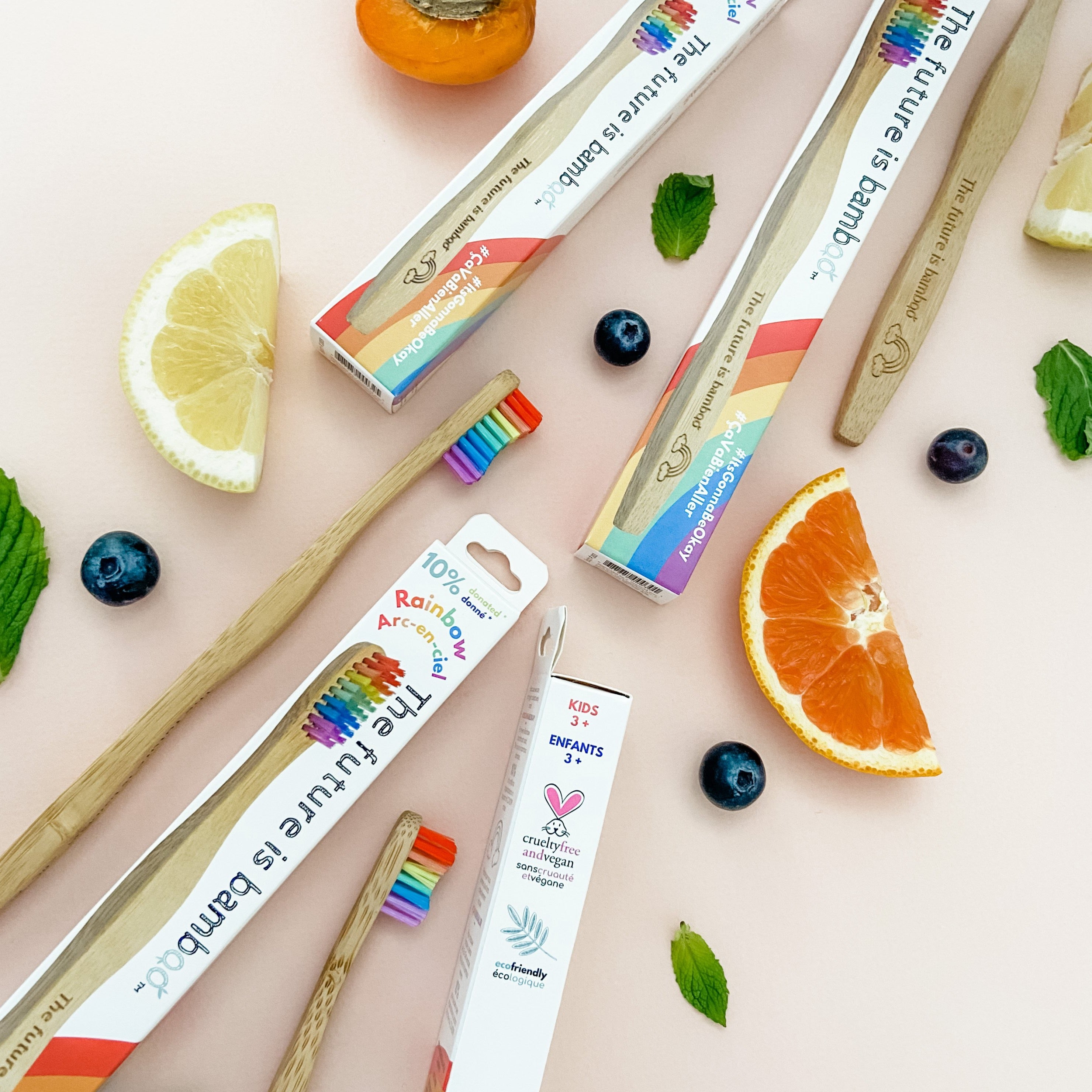 🌈 Rainbow Bamboo Toothbrushes <br> Family 8-Pack