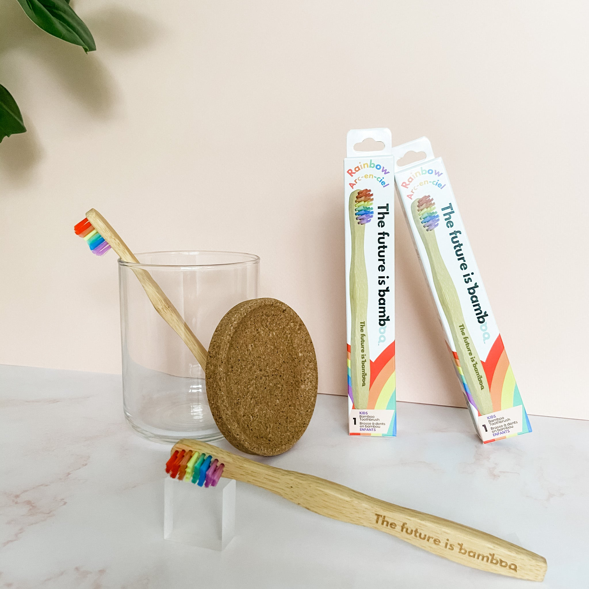 🌈 Rainbow Bamboo Toothbrushes - Kids Soft 2-Pack