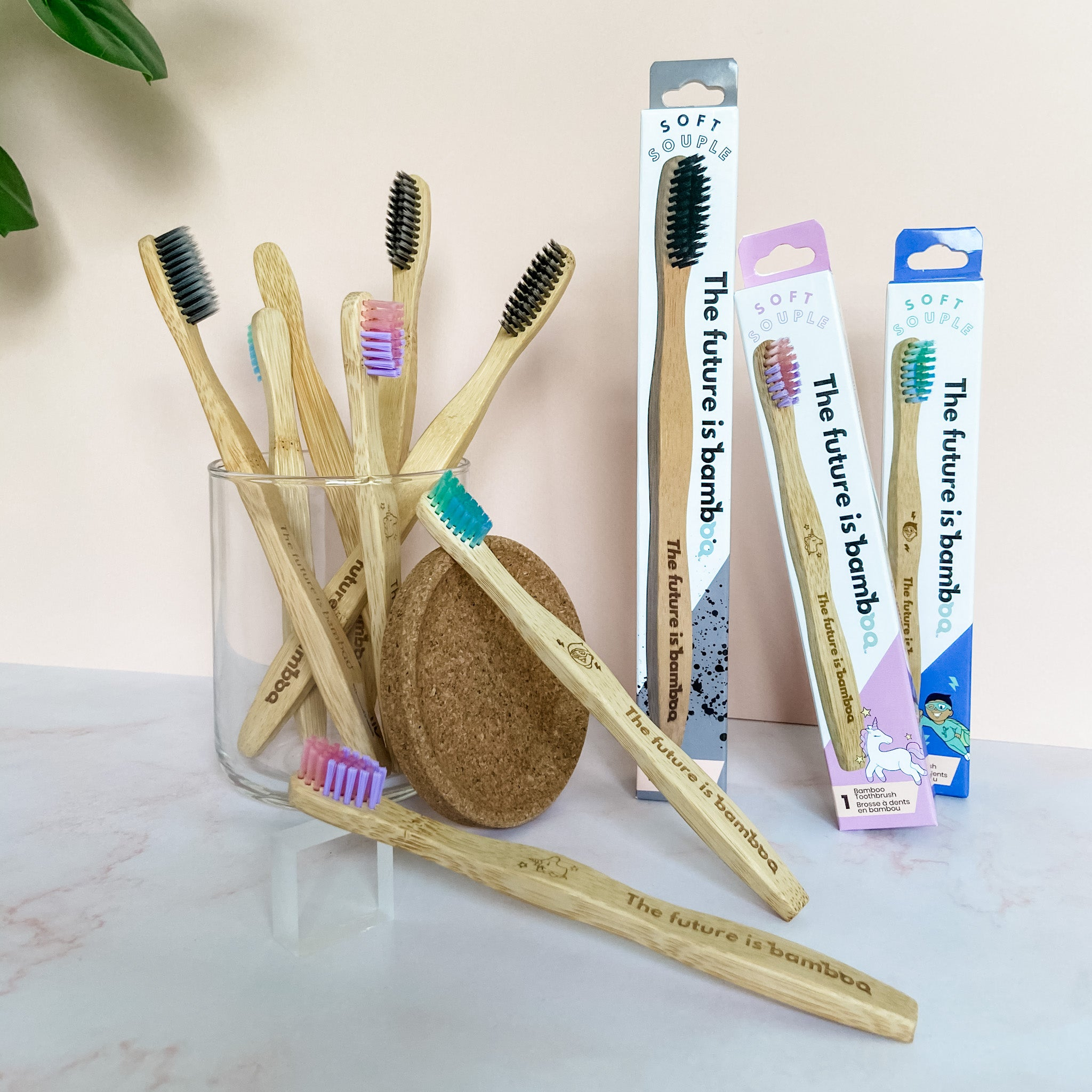 Charcoal Bamboo Toothbrushes Family 8-pack