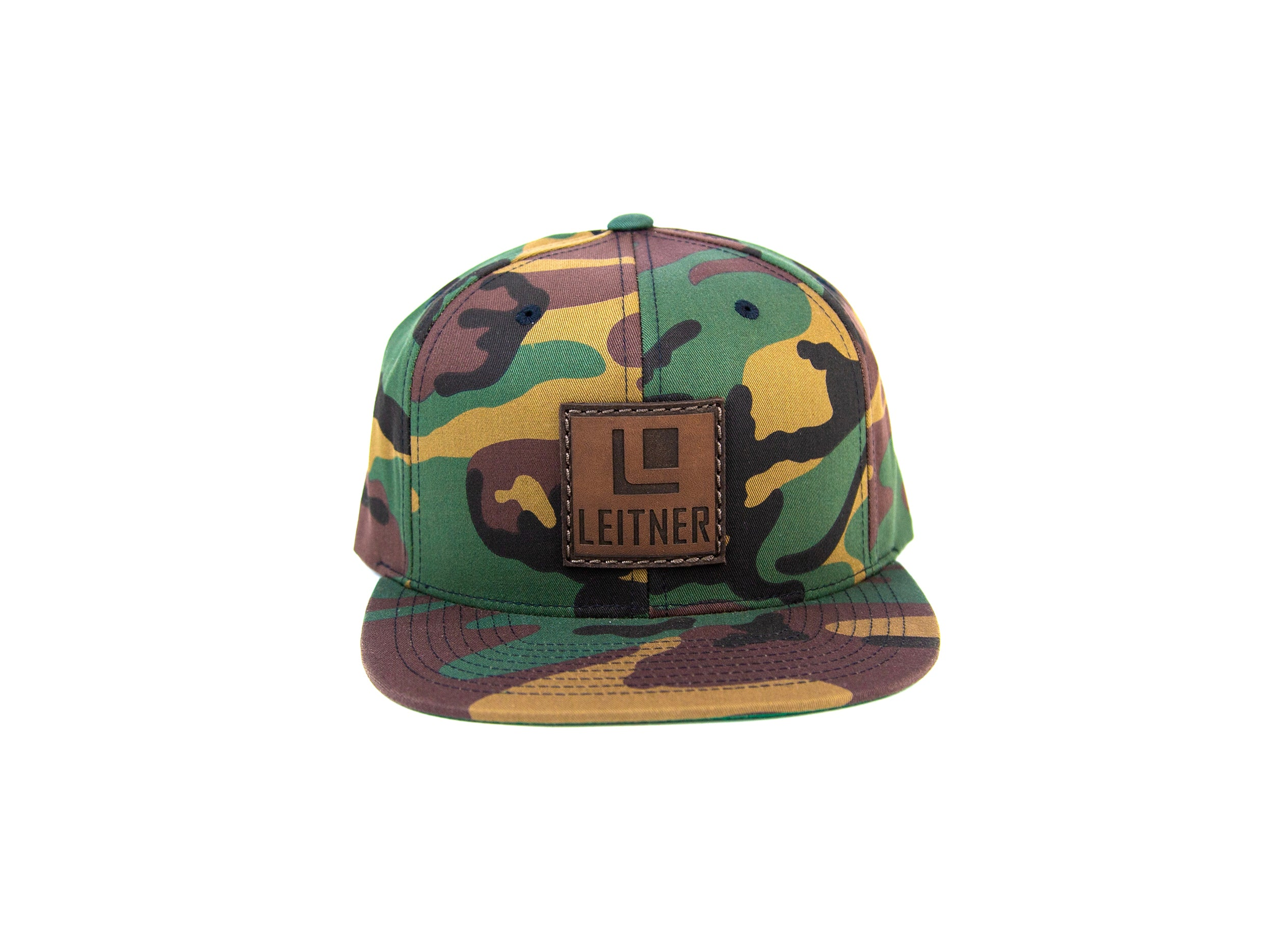 Leather Patch Camo Snapback Hat
