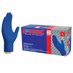 GloveWorks HD Royal Blue GWRBN Diamond Textured Nitrile