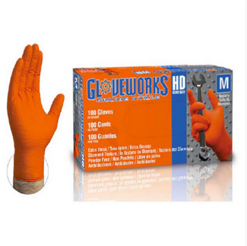 Ammex 8 Mil GWON orange nitrile gloves