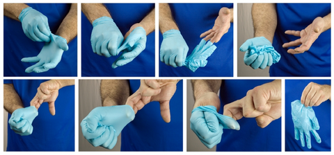 Illustration slide of how to don disposable gloves