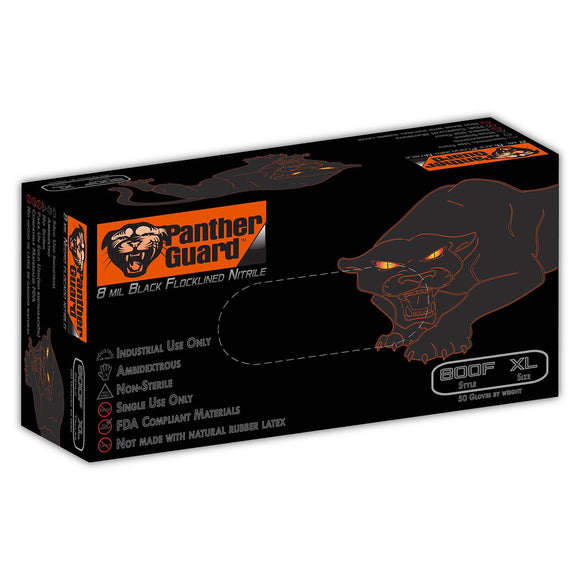 Panther Guard 800F 8 Mil Flock Lined Industrial Black Nitrile Gloves