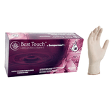 Best Touch® Latex exam gloves with Aloe and Vitamin E by Sempermed,  Powder Free, 4.9 mil