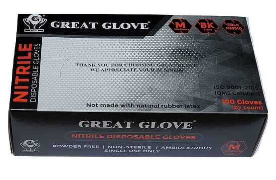 GREAT GLOVE Soft Black Nitrile Powder Free Gloves