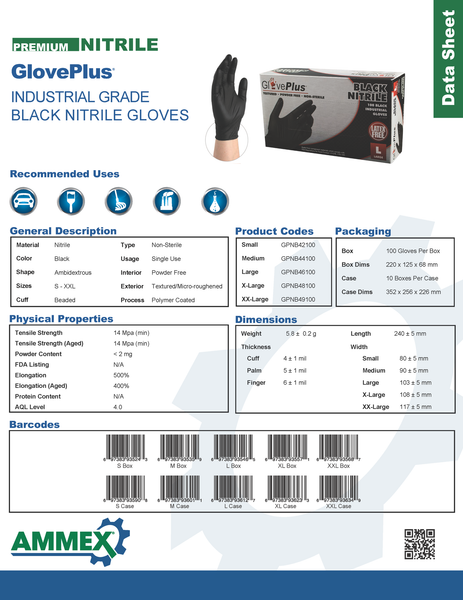 Gloveplus 174 Gpnb Black Nitrile Gloves Yourglovesource Com