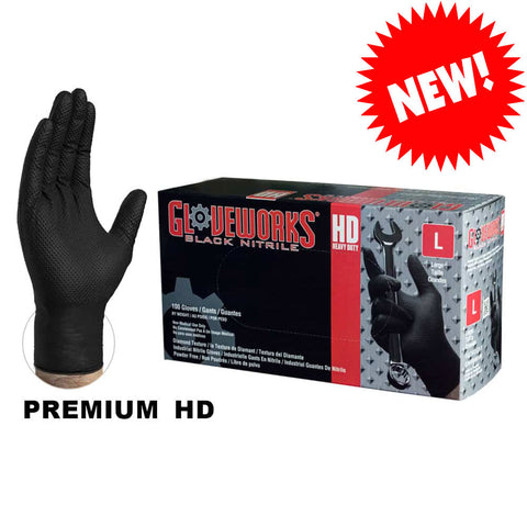 Gloveworks GWBN Heavy Duty 6 Mil Black Nitrile Gloves, Industrial Grade