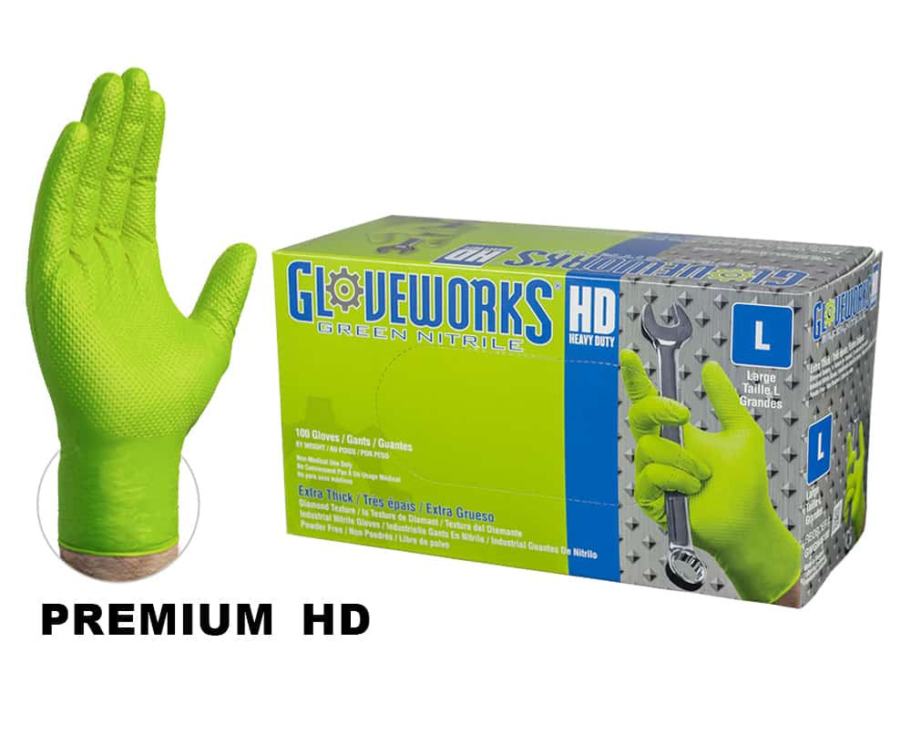GloveWorks Heavy Duty Industrial Green Nitrile Gloves, 8 Mil, Powder Free-Sample