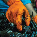 Orange Nitrile Gloves, GloveWorks GWON HD 8 Mil Industrial Grade, Powder Free, 100 Gloves/Box. Free Shipping!
