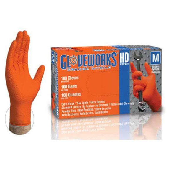 GloveWorks Heavy Duty Industrial Orange Nitrile Gloves, 8 Mil, Powder Free-Sample