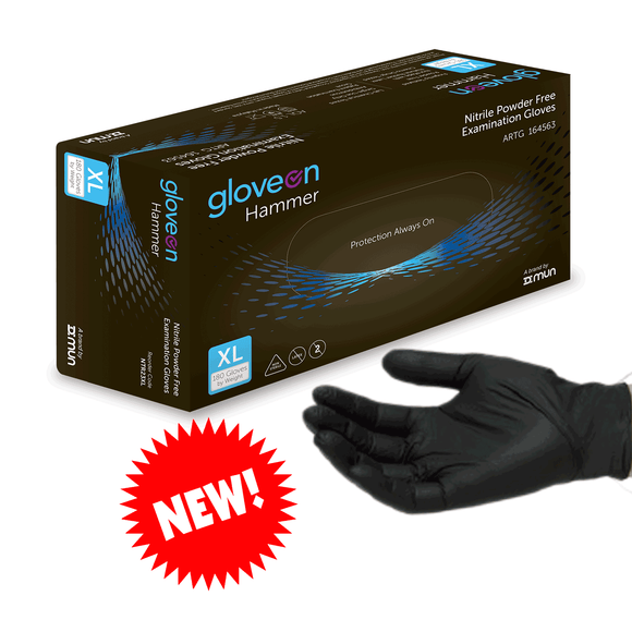 Hammer NTR23 Black Nitrile Exam Gloves