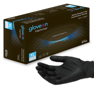 Hammer  Black Nitrile Exam Gloves, Powder Free, 4.5 Mil-Sample