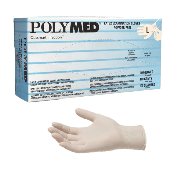 Polymed powder free latex exam gloves