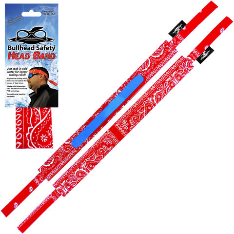 Bullhead Safety® Red Paisley Cooling Head Band
