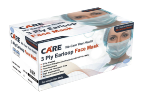 Care Plus 3 Ply  Ear Loop Face Mask, 50 / Per Box