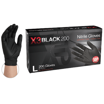 BX3D Black Nitrile Industrial Gloves, Powder Free by Ammex, 3.3 Mil-Sample