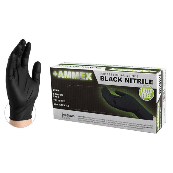 Ammex Black Nitrile Exam Gloves Powder Free, Free Shipping