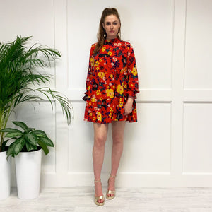 The Patsy Tiered Dress in Red Floral
