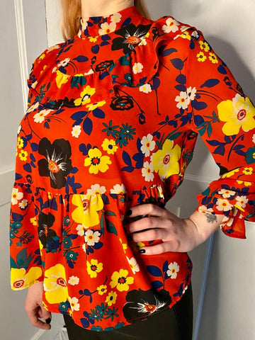 The Patsy Top in Red Floral