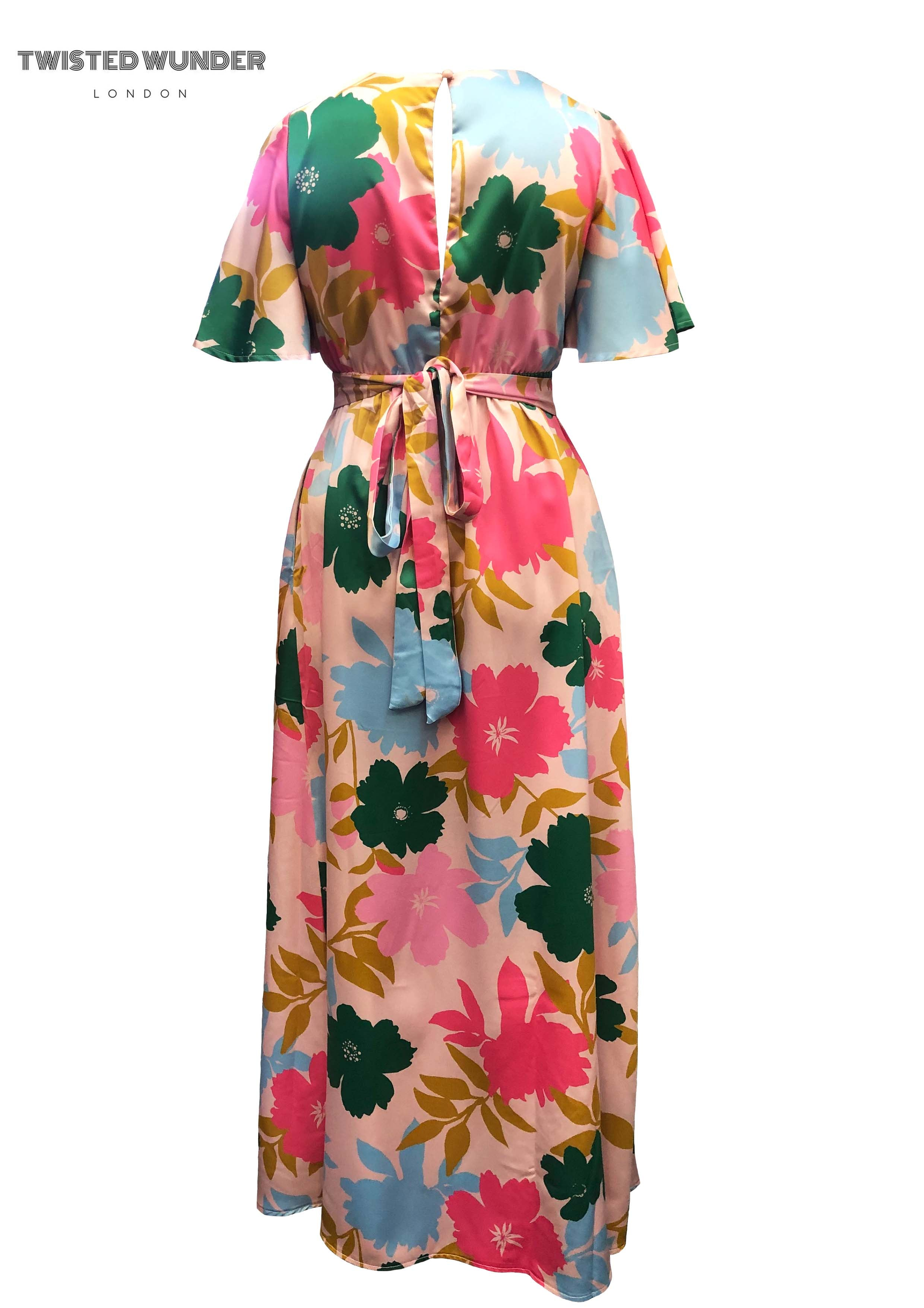 Blossom Dress in Pink Tone Block Floral