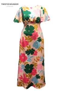 Ziggy Dress in Pink Tone Block Floral