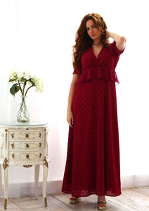 Gloria Berry and Rust Frill Dress