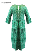 Load image into Gallery viewer, Adele Tier Dress in Green and White Scatter Print
