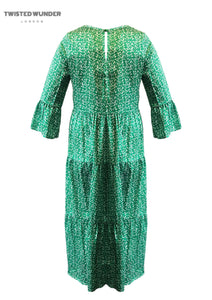 Adele Tier Dress in Green and White Scatter Print